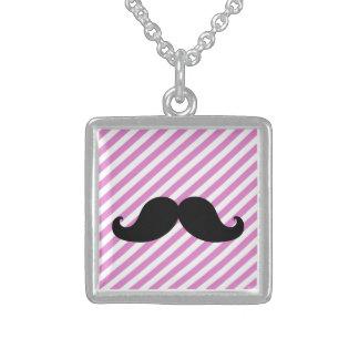 Black Mustache Necklace | Pink Stripes