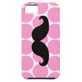 Black Mustache on Pink Polka Dots iPhone 5 Case