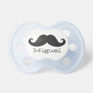 Black Mustache Pacifier for Babies Custom Name
