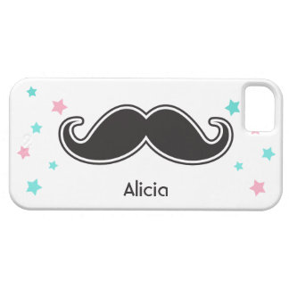 Black mustache pale pink aqua stars personalized iPhone 5 cover