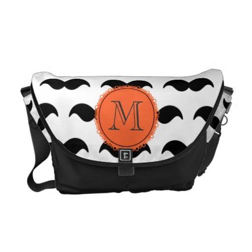 Black Mustache Pattern, Coral Monogram Messenger Bag