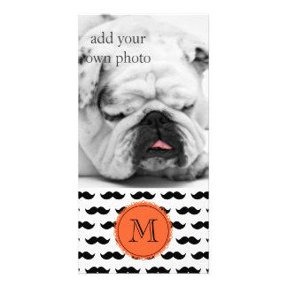 Black Mustache Pattern, Coral Monogram Customized Photo Card