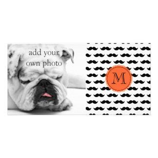 Black Mustache Pattern, Coral Monogram Photo Cards
