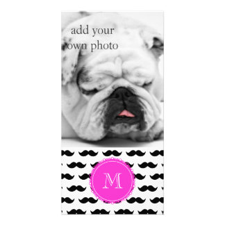 Black Mustache Pattern, Hot Pink Monogram Photo Cards