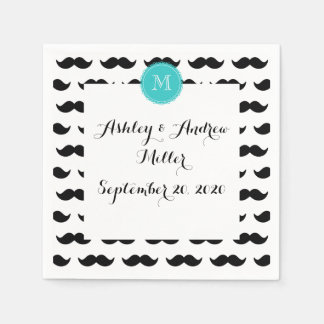 Black Mustache Pattern, Teal Monogram Disposable Napkin