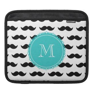 Black Mustache Pattern, Teal Monogram iPad Sleeves
