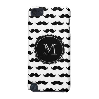 Black Mustache Pattern, Your Monogram iPod Touch 5G Cover
