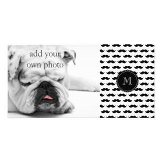 Black Mustache Pattern, Your Monogram Customized Photo Card