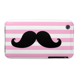 Black Mustache Pink Stripes iPhone 3 Case-Mate Cases