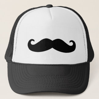 Black Mustache Print Trucker Hat