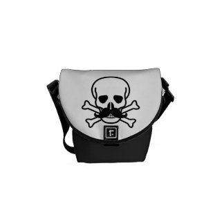 Black Mustache Skull and Crossbones Rickshaw Bag Messenger Bags