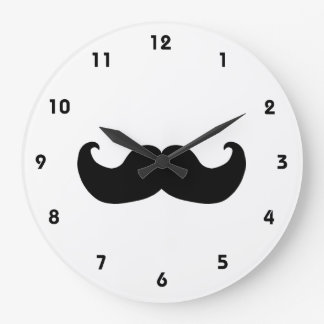 Black Mustache wall clock with numbers