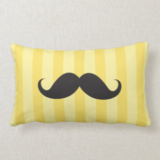Black mustache yellow stripes funny pillow