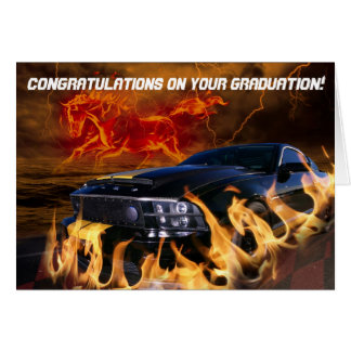 Black mustang racing through the fire storm card