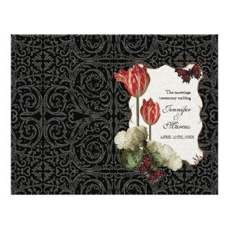 Black n Cream Red Tulip Damask - Wedding Program 21.5 Cm X 28 Cm Flyer