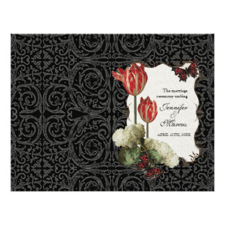 Black n Cream Red Tulip Damask - Wedding Program Flyer