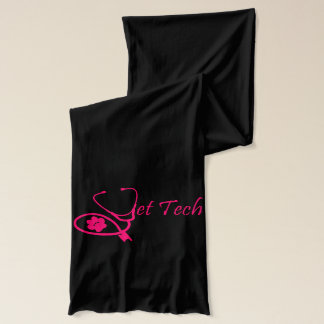 black n hot pink stethoscope design vet tech scarf