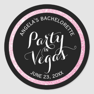 Black n Pink Glitter Party in Vegas Bachelorette Round Sticker
