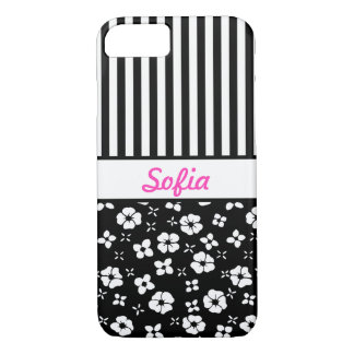 Black n White Flowers n Stripes Monogrammed iPhone 8/7 Case