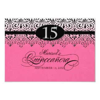 Black n White Lace Look Silver 15th Quinceanera 9 Cm X 13 Cm Invitation Card