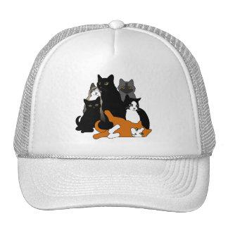 Black 'n' White 'n' Gray 'n' Orange Cats Mesh Hats