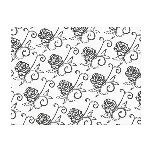 Black-n-White Roses Gallery Wrap Canvas