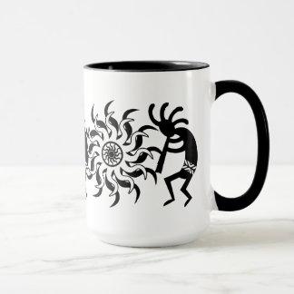 Black N White Southwest Kokopelli Tribal Sun Mug