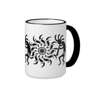 Black N White Southwest Kokopelli Tribal Sun Ringer Mug