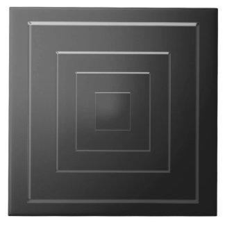 Black n White Squares pattern Artistic Graphic Large Square Tile
