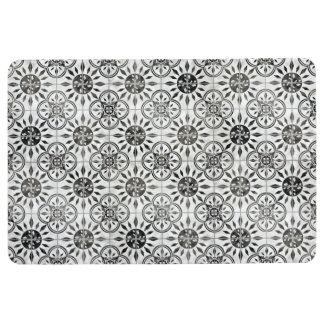 Black n White Tile Rustic Country Farmhouse Modern Floor Mat