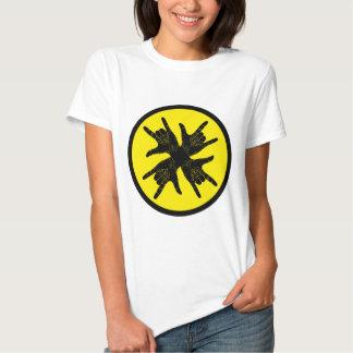 Black n yellow crazy Rock sign T-shirt. T Shirt