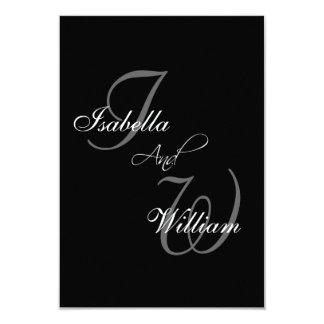 Black Names Initials Wedding RSVP Card 9 Cm X 13 Cm Invitation Card