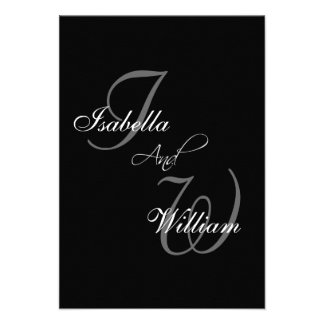 Black Names Initials Wedding RSVP Card