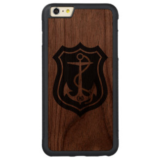 Black Nautical Anchor Monogramed Carved Walnut iPhone 6 Plus Bumper Case