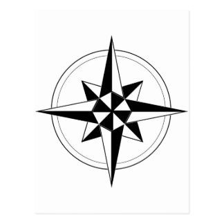 Black Nautical Compass Postcard