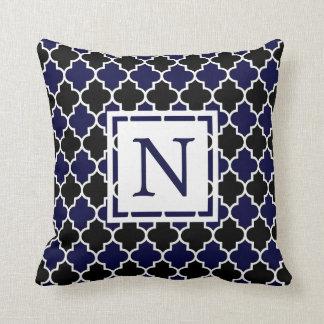 Black & Navy Blue Quatrefoil Monogram Throw Pillow