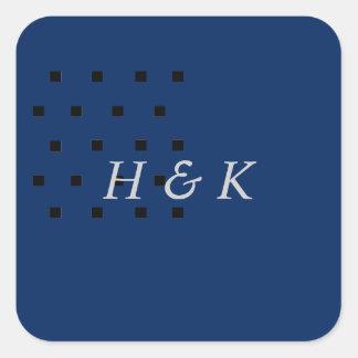Black navy blue squares sticker