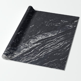 Black Navy Silver Gray Carrara Marble Stone Wrapping Paper