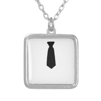 Black Necktie Silver Plated Necklace