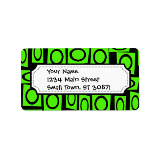 Black Neon Lime Green Fun Circle Square Pattern Address Label