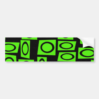 Black Neon Lime Green Fun Circle Square Pattern Bumper Sticker