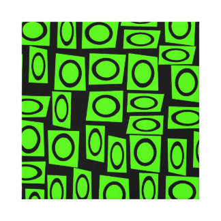Black Neon Lime Green Fun Circle Square Pattern Stretched Canvas Print