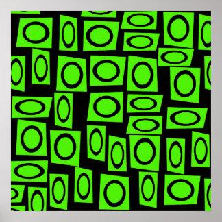 Black Neon Lime Green Fun Circle Square Pattern Print