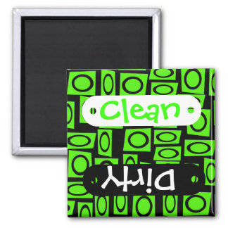 Black Neon Lime Green Fun Circle Square Pattern Square Magnet