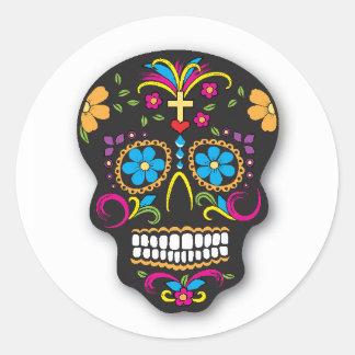 Black Neon Mexican Sugar Skull Day of the Dead Classic Round Sticker