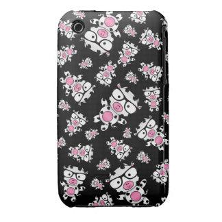 Black nerd cow pattern Case-Mate iPhone 3 cases