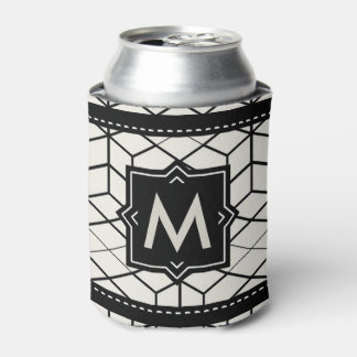 Black & Neutral Geometric Pattern Monogrammed Can Cooler