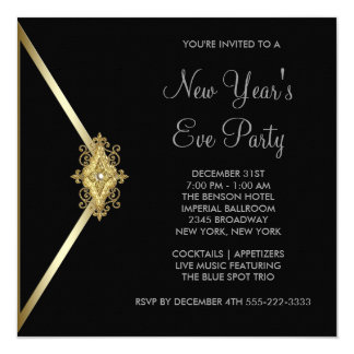 Black New Years Eve Party 13 Cm X 13 Cm Square Invitation Card