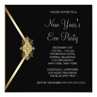 Black New Years Eve Party Invitation