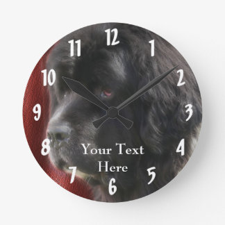 Black Newfoundland Dog Face Round Clock